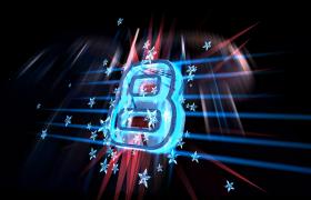 炫酷光线点缀荧光五角星漂浮3D蓝光数字演绎10秒倒计时视频