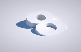 创意建筑风白色3D数字三维凸起呈现10秒倒计时艺术特效视频
