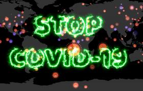 地圖閃爍病毒溢出STOP COVID-19全球防疫動畫特效視頻