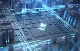 蓝色线条穿梭在科技大厦片头动画演绎Ae模板