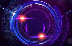科技圆环框架粒子环绕演绎数据快速演变HD视频素材