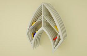 現代簡約木質風格設計個性化創意書架C4D家居飾品模型