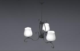 客廳天花板高級裝飾用吊頂燈C4D家居飾品模型展示