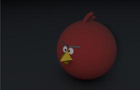 索尼影视动画愤怒的小鸟红色小鸟愤怒红(Red)游戏主角c4d模型展示