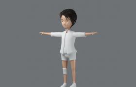 高精度动漫人物白色运动服小男孩High 3D模型(OBJ,FPX,BLEND,3DS)