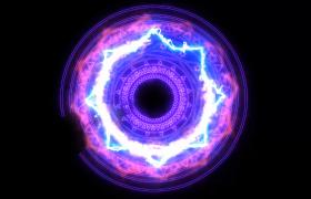 紫色能量神秘光圈旋转浮现彩色电光闪烁讯炫酷特效视频下载