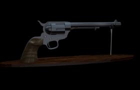轉股式多發裝填非自動槍械左輪槍C4D家居雕塑擺件模型