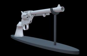 轉股式多發裝填非自動槍械左輪槍C4D家居雕塑擺件