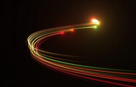 七彩光线跟随闪亮光点完美弧度旋转HD特效片头视频