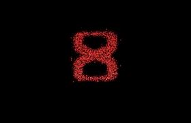 十秒数字红色炫光粒子旋转拼凑HD精彩倒计时视频