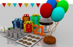 精美birthday生日礼物礼品盒Cinema 4D模型展示