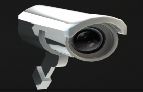 圓筒型墻角監控攝像頭黑白影相安防數碼設備C4D模型