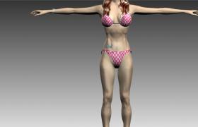 C4D人物建模:比基尼沙滩feman腹部腿部纹身泳装女士模型