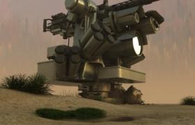 高精度金屬材質多炮孔防空超能火炮C4D重火器模型