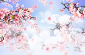 云雾缭绕粉色花林粒子伴随花朵飘落梦幻仙境LED舞台背景视频