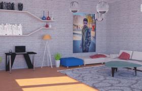 簡約創意性精裝設計室內造型展示C4D寫實模型