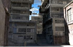 廢舊的香港城市街道建筑C4D高清寫實模型