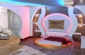 情趣酒店豪华情侣套房精品装饰设计C4D场景渲染模型