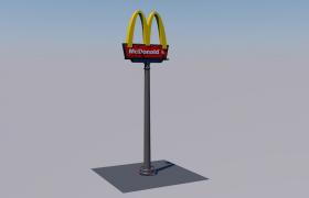 麦当劳广告牌卡通徽标C4D建筑指示牌模型展示