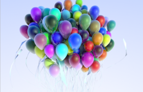 白色絲綢彩帶裝飾設計卡通七彩氣球玩具C4D模型