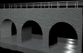 石头拱桥大型交通运输建筑C4D物理场景模型