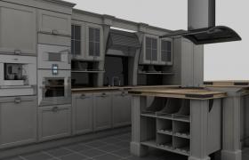 一體式套件廚具高品質廚房室內場景C4D工程渲染模型