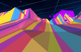 炫彩条纹几何空间冲刺超视觉渲染4K舞台背景动画特效视频