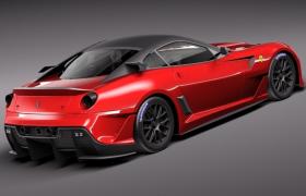 轻量化全铝架构法拉利599XX中前置发动机两座跑车3D模型(3ds,c4d,fbx,lwo,max,obj)