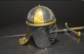 精美复古的西方剑士头盔和十字剑攻防武器Cinema 4D模型(含贴图)