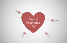 紅色心形翻轉愛神之箭創意投射520快樂情人節30幀特效視頻