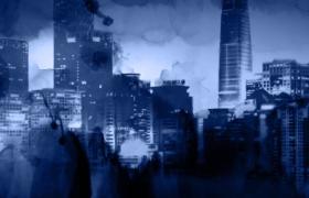 古今著名建筑深藍水墨逼真渲染歷史文化片頭特效背景視頻
