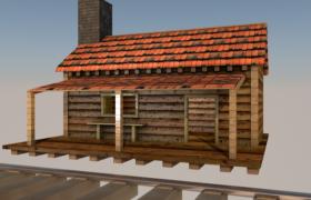 鐵路檢修驛站純木質條紋小屋C4D戶外場景模型(含貼圖)