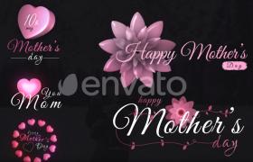 浪漫心形花朵母親節主題文字標題動畫展示ae模板