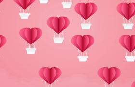 520情人節素材粉色甜美風愛心熱氣球飄升MOV背景視頻