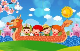 欢乐划龙舟唯美动态风景端午节庆祝动画特效视频