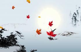 水墨山水風楓葉飛鳥凄美動態意境MP4古風特效視頻