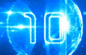 蓝光主调色数字3D粒子球揭示十秒倒计时HD科技片头视频
