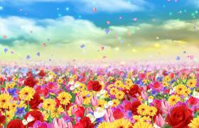 天空腾云逝去彩虹花海花瓣飘升唯美效果舞台背景视频
