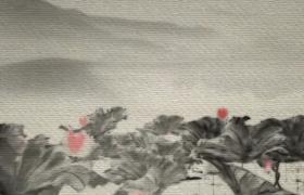 古風水墨畫卷拉開荷塘竹林古韻意境展示MP4特效視頻