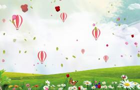 鲜花草坪蝴蝶飞舞热气球绿叶空中漂浮儿童节动画视频素材