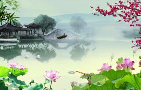 荷塘迷雾朦胧花朵飘落木船小亭古风水墨意境舞台背景视频