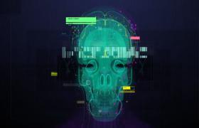 HUD全息特效科技未来头部骷髅开场动画展示ae模板