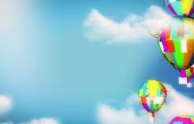 六一儿童节飞舞的彩纸热气球空中漂浮创意动画特效视频