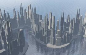 科幻黄金海岸城市全景大型3D场景工程模型(OBJ)
