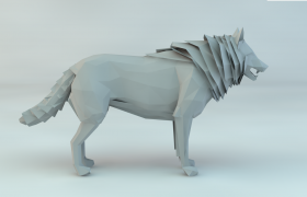低面多边形设计荒野苍狼Cinema4D动物白模下载(含贴图)