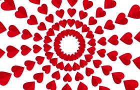 红心万花筒图案回旋扩大欢乐情人节动画视频素材