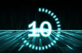 数字能量缓冲环横向绿光条直面输出4K科技倒计时视频