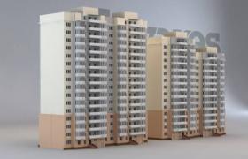 两幢高层小区上帝视角居民住房建筑楼3D模型(3ds,obj,max)