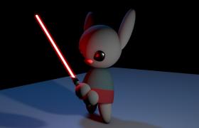 光劍兔子殺手Rabbit killer卡通人物角色Cinema 4D模型(含燈效)