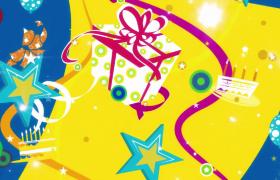 光点闪耀礼盒彩带生日蛋糕惊喜洒落儿童庆祝卡通特效视频